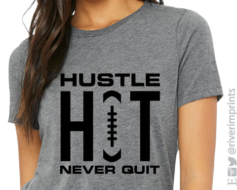 HUSTLE HIT NEVER QUIT Triblend Football Graphic Tee