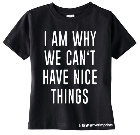 I AM WHY WE CAN'T HAVE NICE THINGS toddler graphic tee by River Imprints