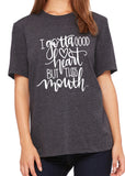 I GOTTA GOOD HEART BUT THIS MOUTH Graphic Triblend T-shirt by River Imprints