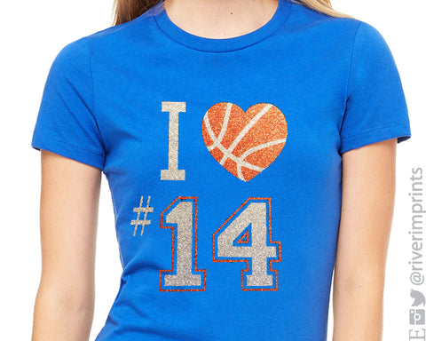 I LOVE BASKETBALL NUMBER Personalized Glittery Cotton Tee