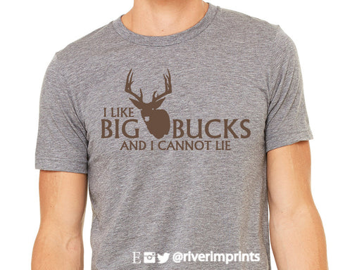 I LIKE BIG BUCKS AND I CANNOT LIE Graphic Triblend Tee by River Imprints