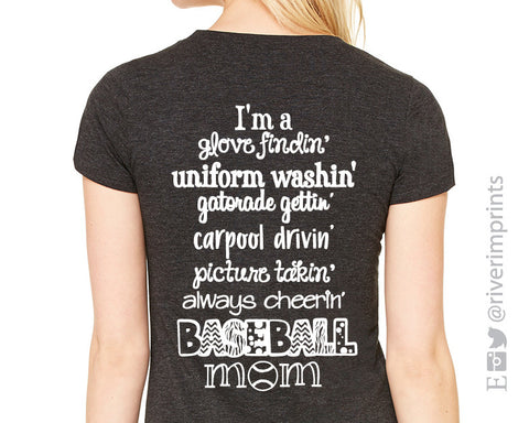 Add Baseball Mom Quote to any shirt