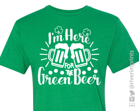I'M HERE for the GREEN BEER graphic ringer tee shirt