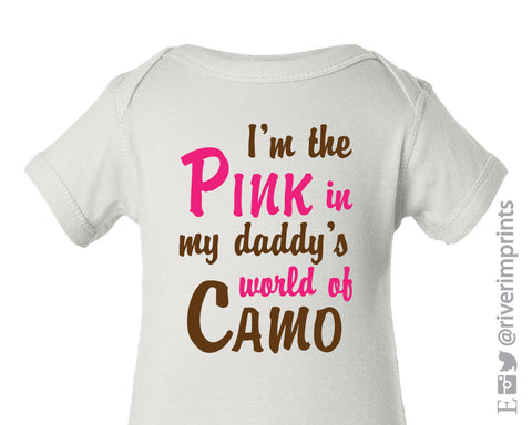 Baby PINK in Daddy's world of CAMO, short sleeved baby bodysuit baby girl hunter camoflauge