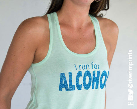 I RUN FOR ALCOHOL Glittery 2-sided Flowy Tank