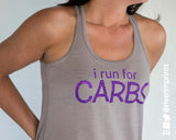 I RUN FOR CARBS Glittery Flowy Tank
