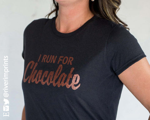 I RUN FOR CHOCOLATE  Glittery Performance Tee by River Imprints