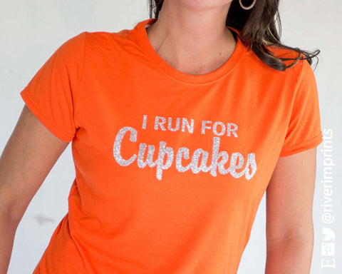 I RUN FOR CUPCAKES Glittery Performance Tee by River Imprints