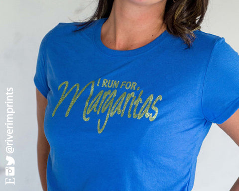 I RUN FOR MARGARITAS Glittery Performance Tee by River Imprints