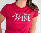 I RUN FOR WINE Glittery Performance Tee by River Imprints
