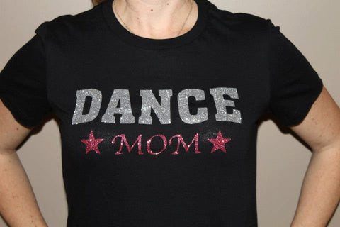 DANCE MOM, glittery sparkle tee shirt River Imprints