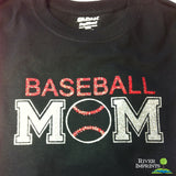 BASEBALL MOM Glittery Cotton Tee River Imprints