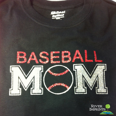 BASEBALL MOM sparkly glitter t-shirt