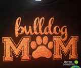 BULLDOG MOM, glittery sparkle tee shirt