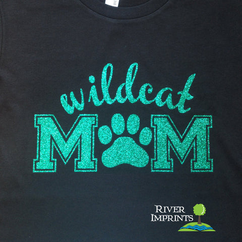 WILDCAT MOM, glittery t-shirt -- Choose from a Regular Unisex or Ladies' Fitted Fitted tee