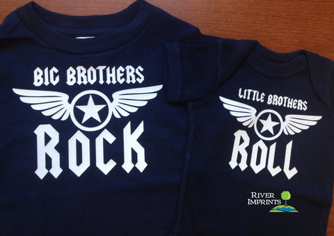 Set of 2 ROCK and ROLL BROTHERS, baby boy bodysuit and toddler tee set