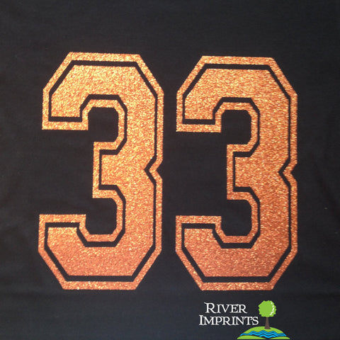 JERSEY NUMBERS Personalized Glittery Cotton Tee