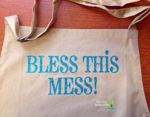 APRON, Bless This Mess shiny glitter personalized hostess gift