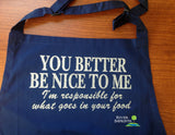 APRON, Be Nice To Me shiny glitter personalized hostess gift