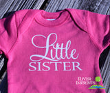 Baby LITTLE SISTER girl short sleeve bodysuit/creeper