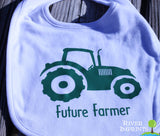 FUTURE FARMER, boy or girl Infant Reversible Bib with barn image