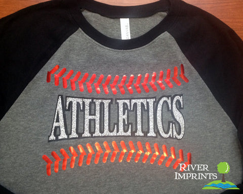 BASEBALL FAN, choice of team, sparkly glitter regular, long sleeve raglan tee