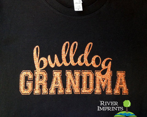 BULLDOG GRANDMA Personalized Glittery Cotton Tee