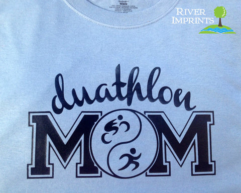 DUATHLON MOM Glittery Cotton Tee River Imprints