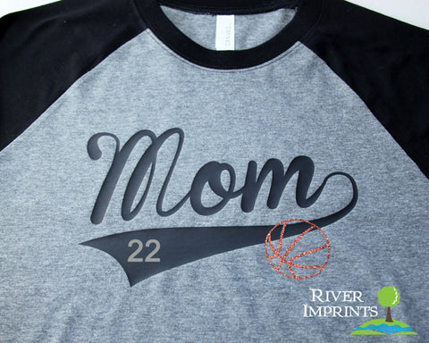 BALL MOM FAN raglan t-shirt, your choice of number and sparkly glitter ball