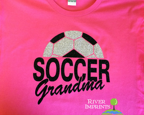SOCCER GRANDMA Glittery Cotton Tee by River Imprints