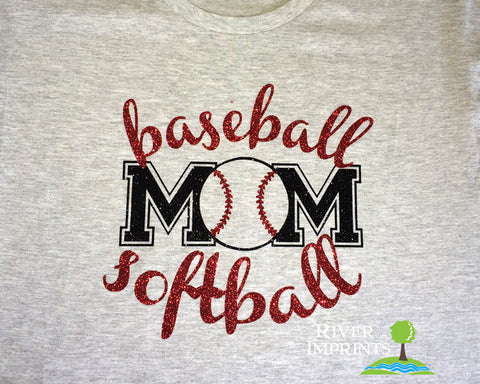 BASEBALL SOFTBALL MOM, sparkly baseball or softball glitter shirt