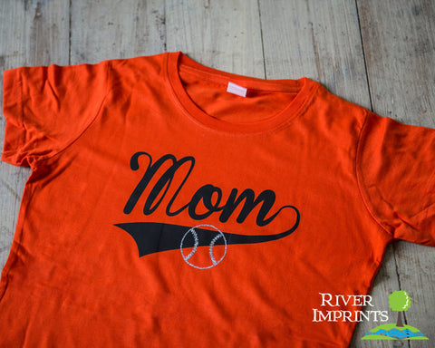 BASEBALL MOM cursive, with your choice of glitter ball