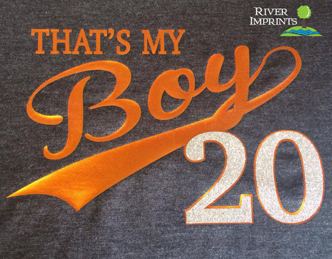 THAT'S MY BOY Personalized Glittery Cotton Tee River Imprints