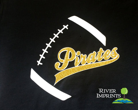PIRATES FOOTBALL, glittery sparkle tee shirt