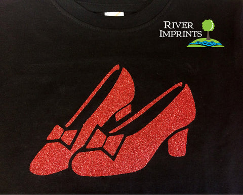 Toddler DOROTHY RUBY SLIPPERS, sparkly, girls short sleeve tee shirt