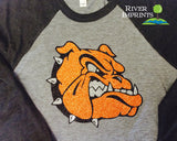 BULLDOG MASCOT Glittery Blend Raglan River Imprints