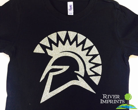 Youth SPARTAN Logo, youth girls fitted or regular fit sparkly tee shirt