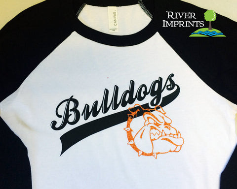 BULLDOGS Fan Raglan 3/4 sleeve T-shirt with Sparkly Glitter logo accent