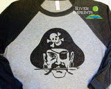 PIRATE Fan Raglan 3/4 sleeve T-shirt with Sparkly Glitter logo decoration