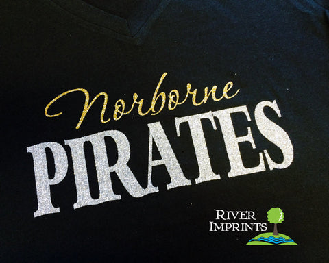 NORBORNE PIRATES, V-neck glittery semi-fitted sparkle tee shirt, choose from 2 shirt styles