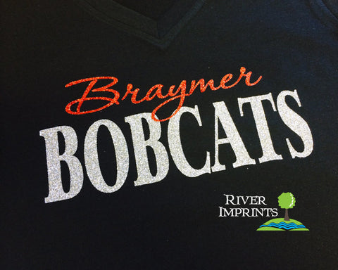 BRAYMER BOBCATS, V-neck glittery semi-fitted sparkle tee shirt