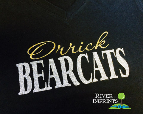 ORRICK BEARCATS, V-neck glittery semi-fitted sparkle tee shirt, choose from 2 shirt styles