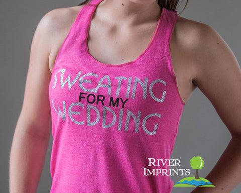 SWEATING FOR MY WEDDING Glittery 2-sided Fitted Tank