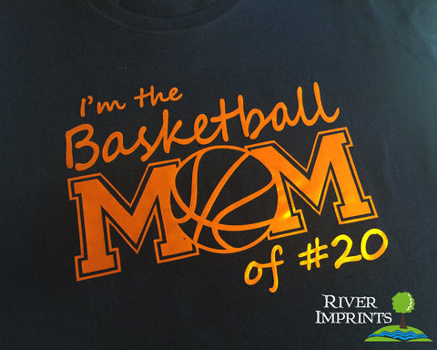 BASKETBALL MOM personalized in cursive, shiny foil t-shirt