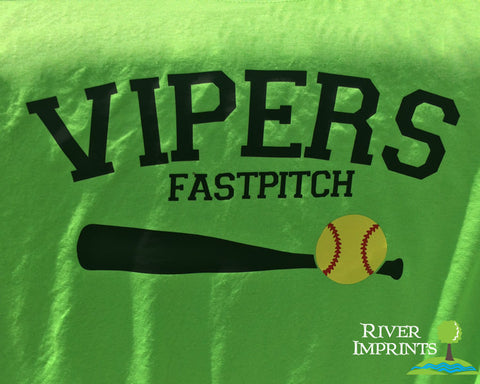 VIPERS FASTPITCH MOM Glittery Cotton Tee River Imprints