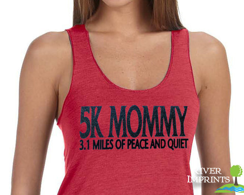 5K MOMMY, 3.1 MILES OF PEACE AND QUIET Glittery Fitted Tank