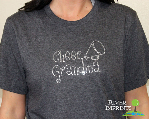 CHEER GRANDMA Rhinestone Cotton Tee River Imprints