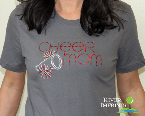 CHEER MOM T-shirt, Super Sparkly rhinestone - your choice of shirt style