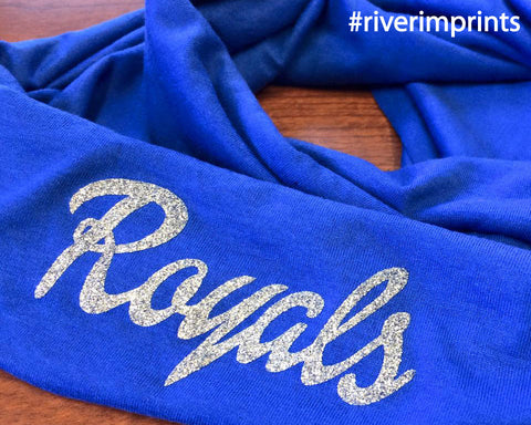 ROYALS T-shirt Infinity Scarf Glitter Royal School Mascot Womens Scarf