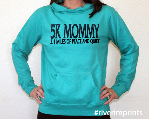5k MOMMY Glittery Midweight Hooded Sweatshirt by River Imprints